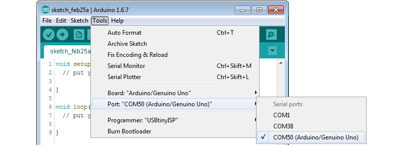 Arduino IDE, Serial Port